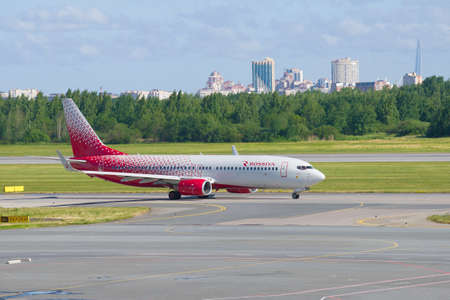 SAINT-PETERSBURG, RUSSIA - JUNE 20, 2018: Boeing 737-8GJ (VQ-BUF) of Rossiya airline after landing on the Pulkovo airport