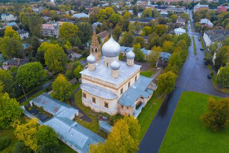Znamensky Cathedral in the cityscape on a September day (aerial photography). Veliky Novgorod, Russia