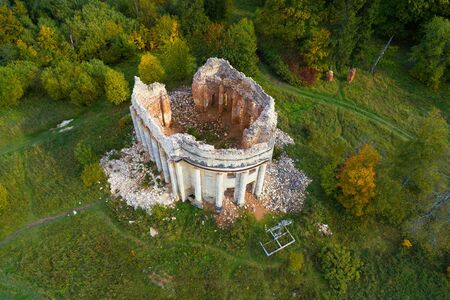 Top view on the ruins of the ancient Trinity Church on a September sunny day. Leningrad region, Russia
