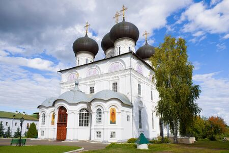 Uspensky Cathedral on a sunny September afternoon. Uspensky Trifonov Monastery Kirov, Russia