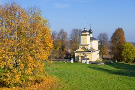 The Church of St. George in the October landscape. Voronich, Pushkin Mountains. Russia 版權商用圖片