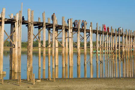 At U Bein Bridge on a sunny day. Amarapura, Myanmar (Burma)