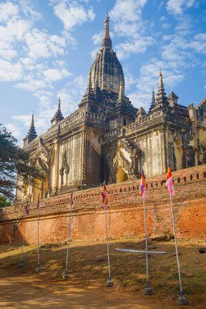 At the ancient Buddhist temple Gaw Daw Palin Phaya on a sunny day. Bagan, Myanmar (Burma)