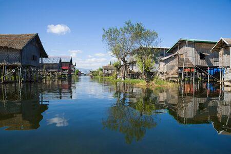 Village street in a fishing village on the Inle Lake. Myanmar (Burma)