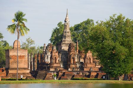 Ruins of the ancient Buddhist temple Wat Mahathat in the historical park of Sukhothai. Thailand