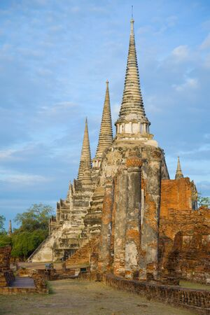Morning on the ruins of the ancient Buddhist temple of Wat Phra Si Sanphet. Ayutthaya, Thailand