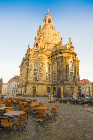 DRESDEN, GERMANY - APRIL 29, 2018: Church of the Virgin (Frauenkirche) on April early morning Editorial