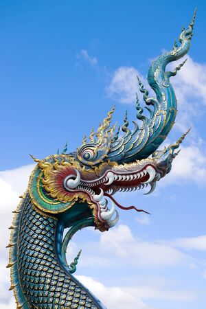 Head of dragon close-up on a sunny day. Buddhist temple Wat Rong Seur Ten (Blue Temple). Chiang Rai, Thailand Stockfoto