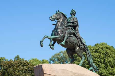 Sculpture of Peter the Great (The Bronze Horseman) close-up on a sunny June day. Saint-Petersburg, Russia