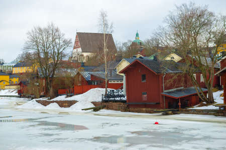 Cloudy March day in old Porvoo. Finland Stock Photo