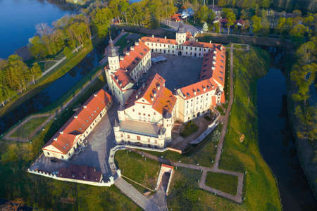 Nesvizh Castle close-up on a May morning (aerial photography). Nesvizh, Belarus