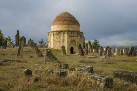 Ancient mausoleum on the old Muslim cemetery Eddie Gumbez. Shemakhi, Azerbaijan