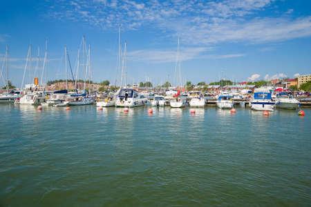 July sunny day in the city marina. Hanko, Finland