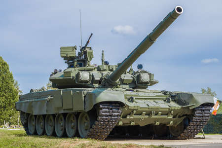 """ALABINO, RUSSIA - AUGUST 25, 2020: Russian tank T-90A """"Vladimir"""" close-up on a sunny day"""