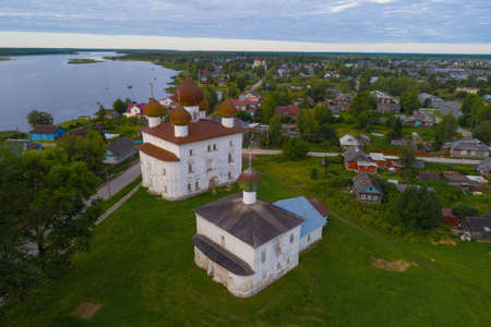 View of the ancient church of Kargopol on an early August morning (aerial photography). Arkhangelsk region, Russia