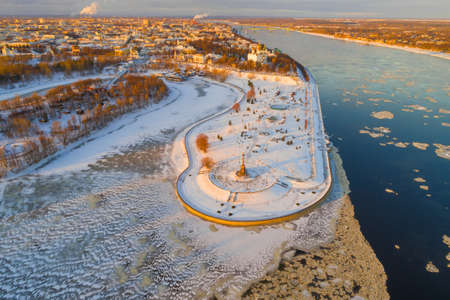 Over the historical center of Yaroslavl on a sunny January evening (aerial photography). Golden ring of Russia Stok Fotoğraf