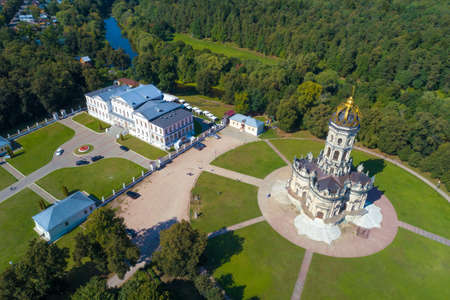 Church of the Sign of the Blessed Virgin Mary in Dubrovitsy manor on a sunny September day (aerial photography). Podolsk, Russia