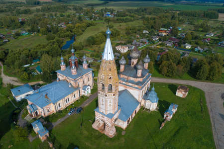 Top view of the ancient temple complex of Parskoye village on a September sunny day (aerial photography). Ivanovo region, Russia