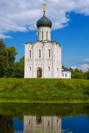 Church of the Intercession on the Nerl close-up on a sunny summer day. Bogolyubovo, Russia