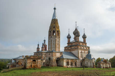 The ancient temple complex in the Parskoye village on a cloudy September day. Ivanovo region, Russia Stok Fotoğraf