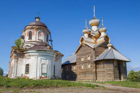 Ancient temples of Paltoga on a sunny summer day. Vologda region, Russia