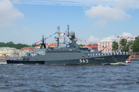SAINT PETERSBURG, RUSSIA - JULY 30, 2017: Small attack missile ship