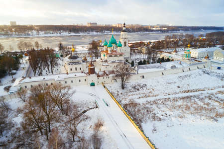 View of the Tolgsky Monastery on a January day (aerial photography). Yaroslavl, Russia