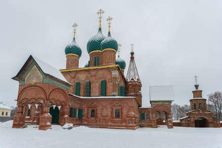 The ancient church of John Chrysostom in Korovniki on a gloomy January day. Yaroslavl, Golden Ring of Russia
