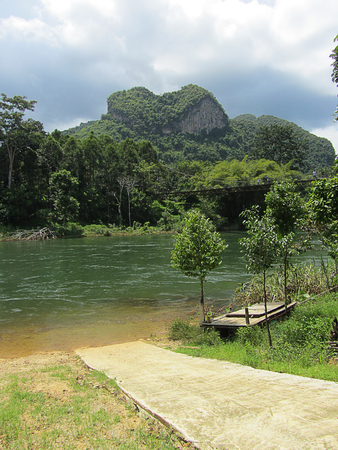 rope bridge: Rope bridge Heart mountain Unseen Thailand Suratthani