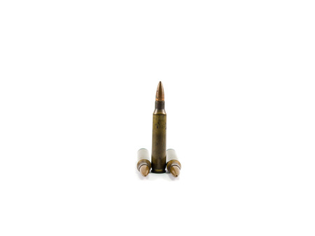 rifle bullets on white background Stock Photo