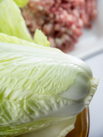bok choy: Chinese cabbage in dish with minced pork
