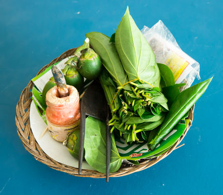 betel leaf: Chewing betel nut and betel leaf is the culture of the ASEAN Stock Photo
