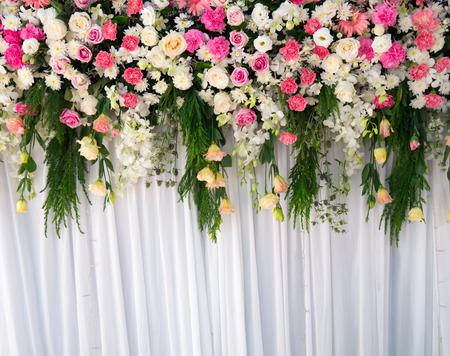 wedding backdrop: backdrop wedding,floral backdrop Stock Photo