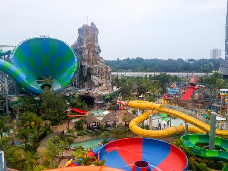 Hua Hin, THAILAND - OCT 13 : Vana Nava water jungle Hua Hin on Oct 13, 2016. Viewpoint area water park from Tower slider Redakční