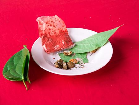 betel leaf betel nut in dish for chew