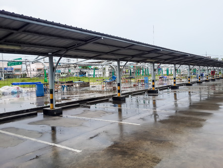 voltaic: parking lot and roof,Covered parking in rainy day Stock Photo