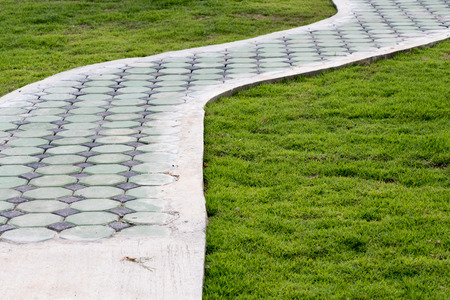 Brick walkway on the lawn in the park