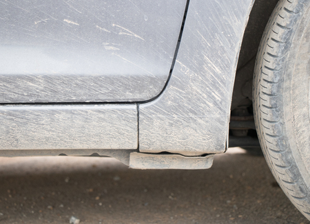 Mud stuck to the car