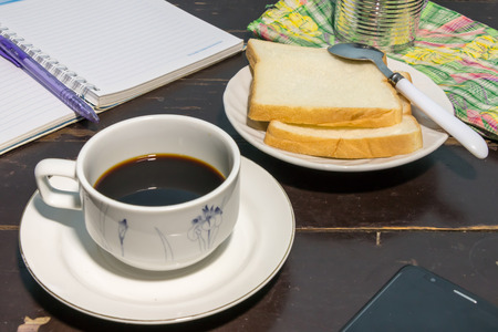 coffee and bread on table Stock Photo