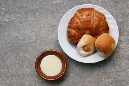 Croissant  bread with Sweetened condensed milk