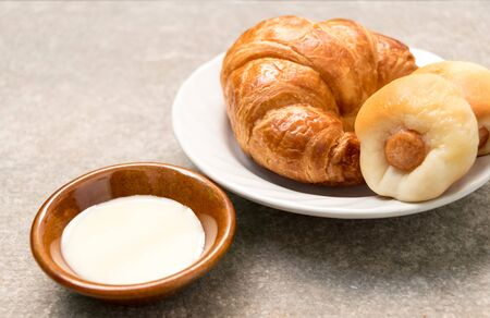 Croissant  bread and Sausage bread with Sweetened condensed milk Stock Photo