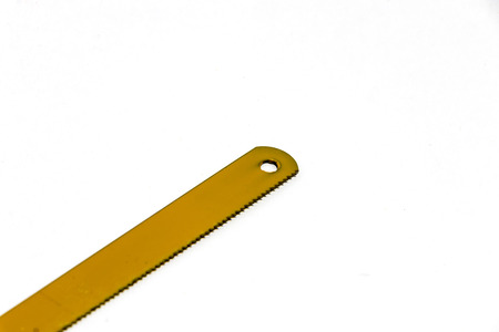 Saw blade for sawing wood or plastic on white background Stock Photo