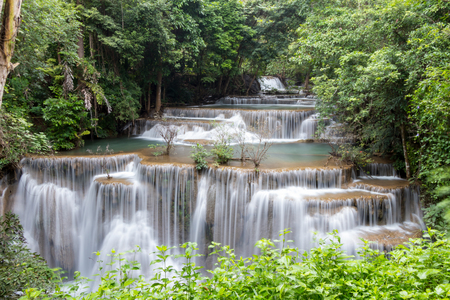 Huay Mae Khamin Waterfall in Kanchanaburi province,Thailand Stock Photo