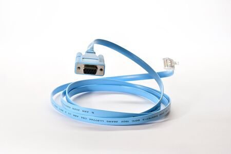 Router console cable on white background