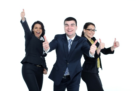 a young man and two young women with thumbs-up gesture isolated on white photo