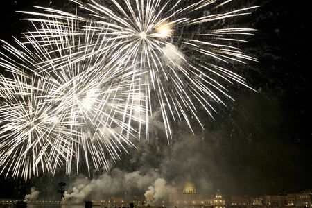 The colorful fireworks at midnight lit up the Venetian sky for The Feast of of Redentore, Venice, Italy