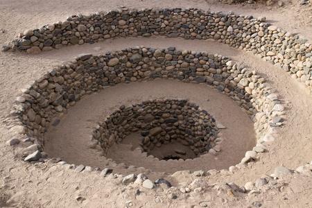 Entrance to the Cantalloc aqueduct, Nazca, Peru Stock Photo
