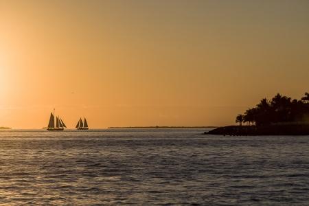 Sailboat Silhouette, Key West Sunset, Florida, USA  Stock Photo