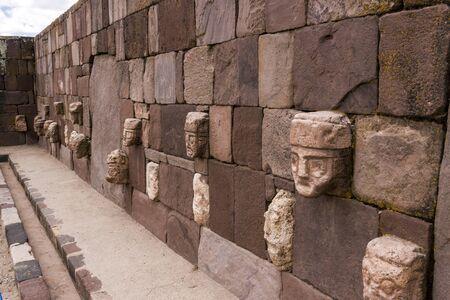 Stone Heads, Kalasaya Compound Wall, Tiwanaku, Bolivia  Stock Photo - 17859371
