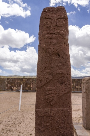 Carved monolith at Tiwanaku, Stella in Courtyard, Tiwanaku , Bolivia,  Stock Photo - 17859361